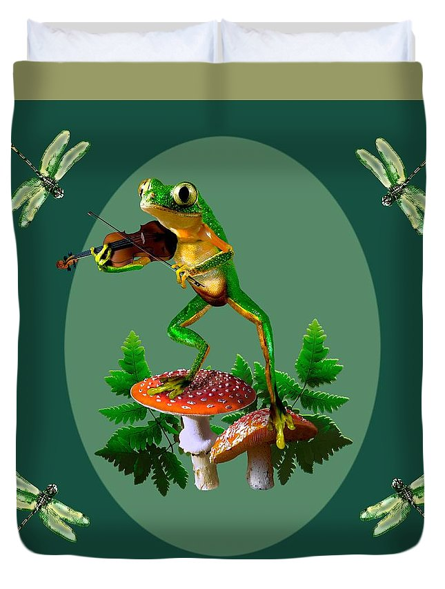 Tree Frog Playing Fiddle Duvet Cover featuring the painting Humorous Tree Frog Playing A Fiddle by Regina Femrite