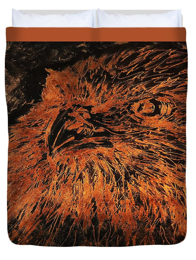 Sheila Sauvageau Duvet Cover featuring the painting Eagle Metallic Copper by Sheila Sauvageau