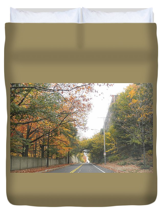 Cleveland Duvet Cover featuring the photograph On The Road by Barbara Keith