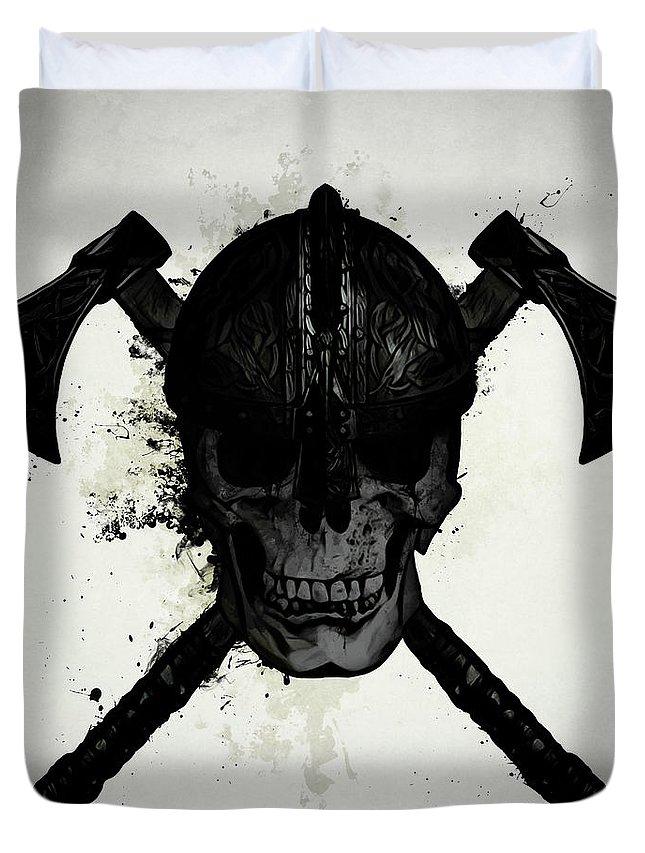 Viking Duvet Cover featuring the digital art Viking Skull by Nicklas Gustafsson