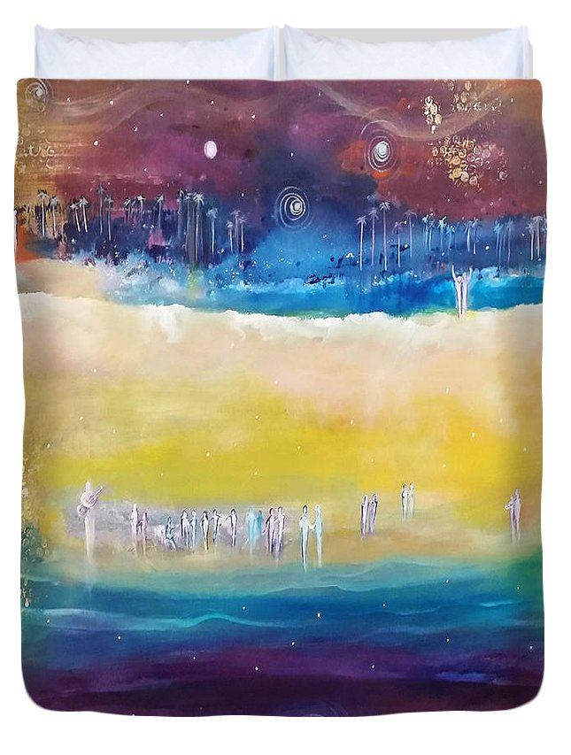 California Duvet Cover featuring the painting California Love by Lily Nava