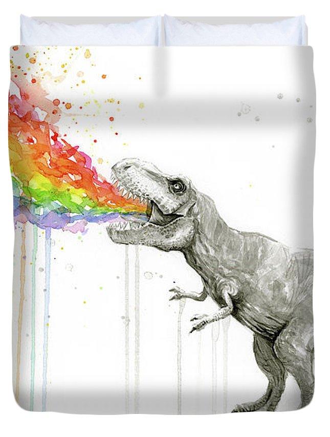T-rex Duvet Cover featuring the painting T-rex Tastes The Rainbow by Olga Shvartsur
