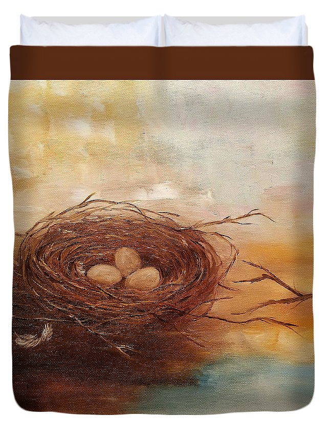 Nest Duvet Cover featuring the painting Nest by Snezana Bozic