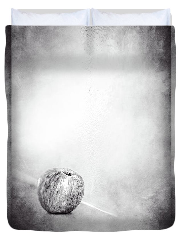 Color Duvet Cover featuring the photograph Apple On The Mantel In Bw by YoPedro
