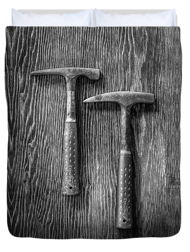 Art Duvet Cover featuring the photograph Rock Hammers On Plywood In Bw 65 by YoPedro
