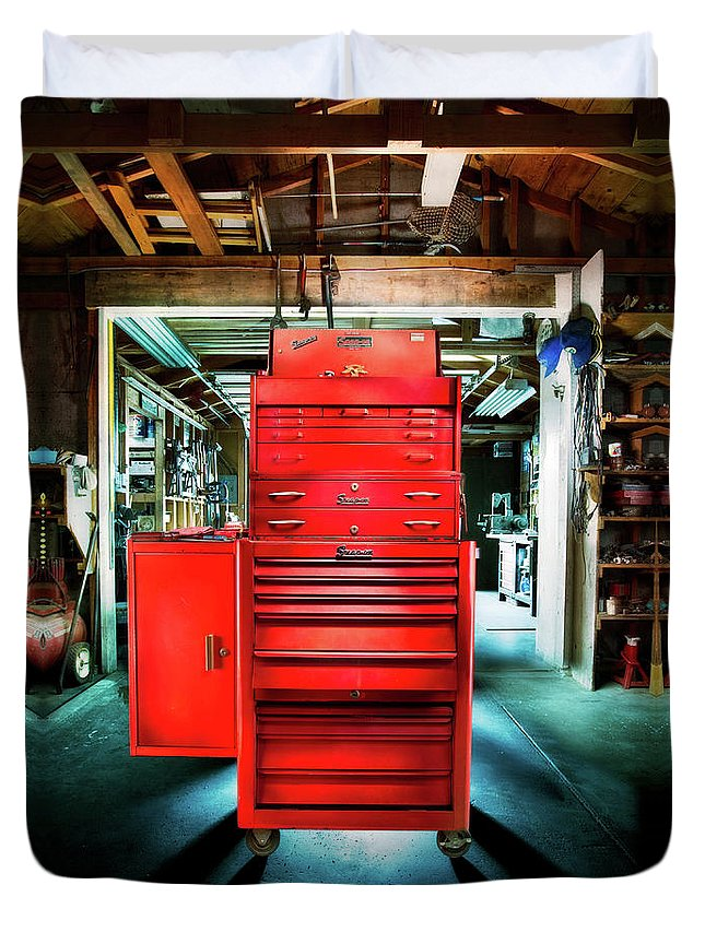 Box Duvet Cover featuring the photograph Mechanics Toolbox Cabinet Stack In Garage Shop by YoPedro
