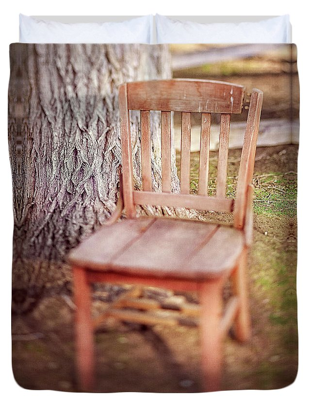Classic Duvet Cover featuring the photograph Tree And Broken Wooden Chair by YoPedro