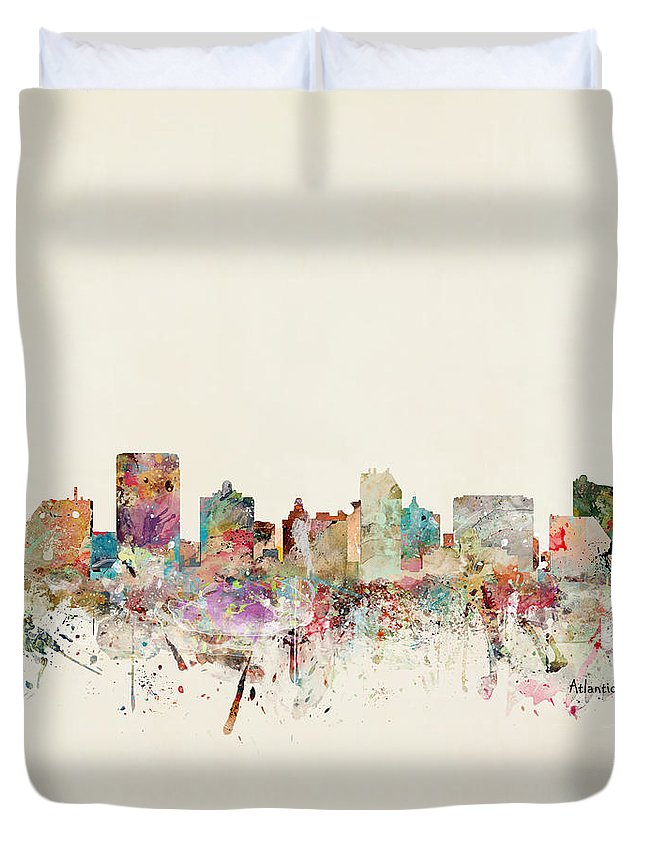Atlantic City Duvet Cover featuring the painting Atlantic City Skyline by Bri Buckley