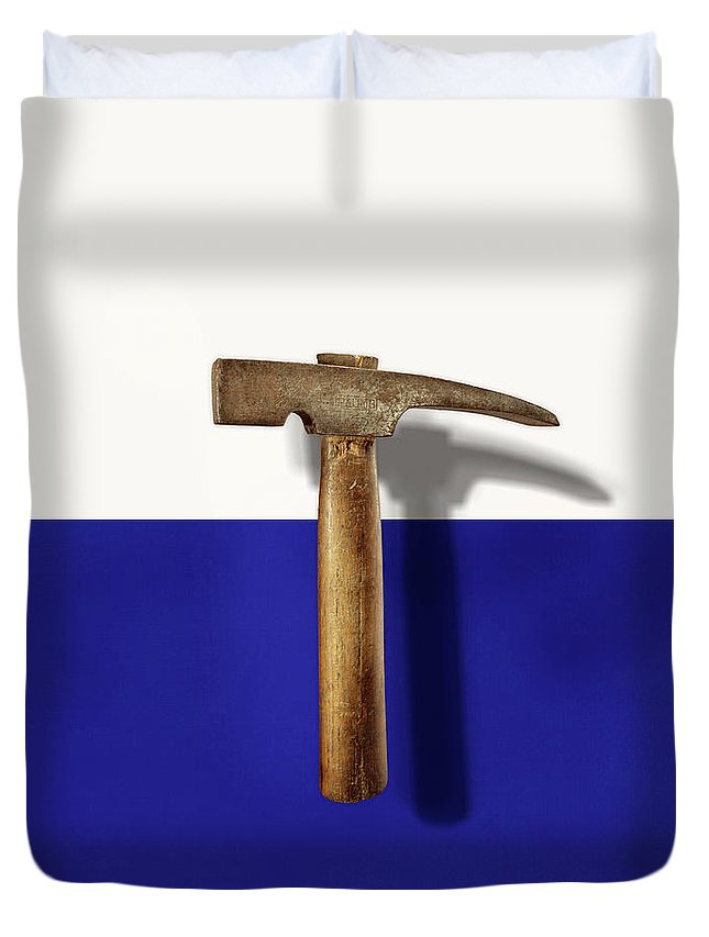 Antique Duvet Cover featuring the photograph Antique Plumb Masonry Hammer On Color Paper by YoPedro