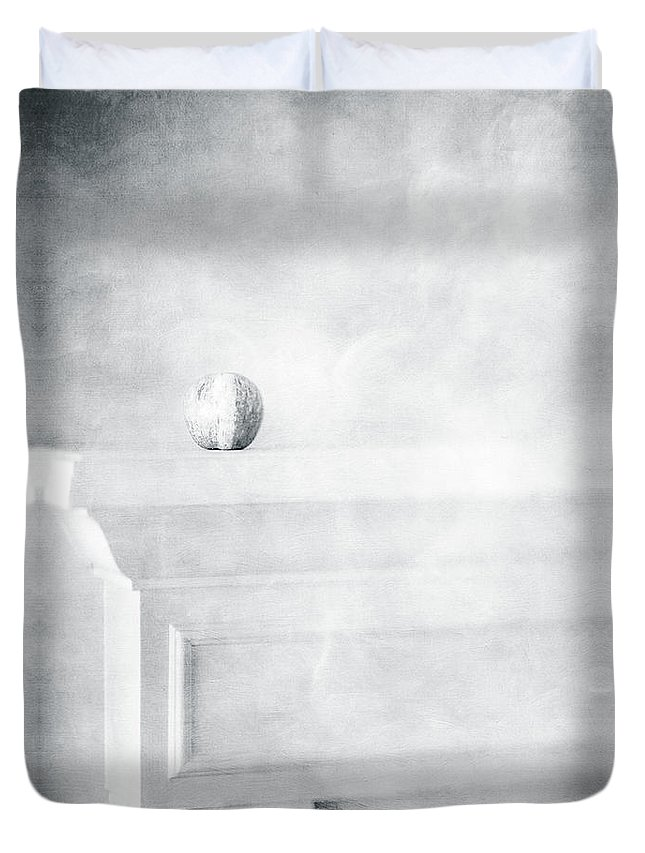 Black Duvet Cover featuring the photograph Fuji Apple On White Fireplace Mantel In Black And White by YoPedro
