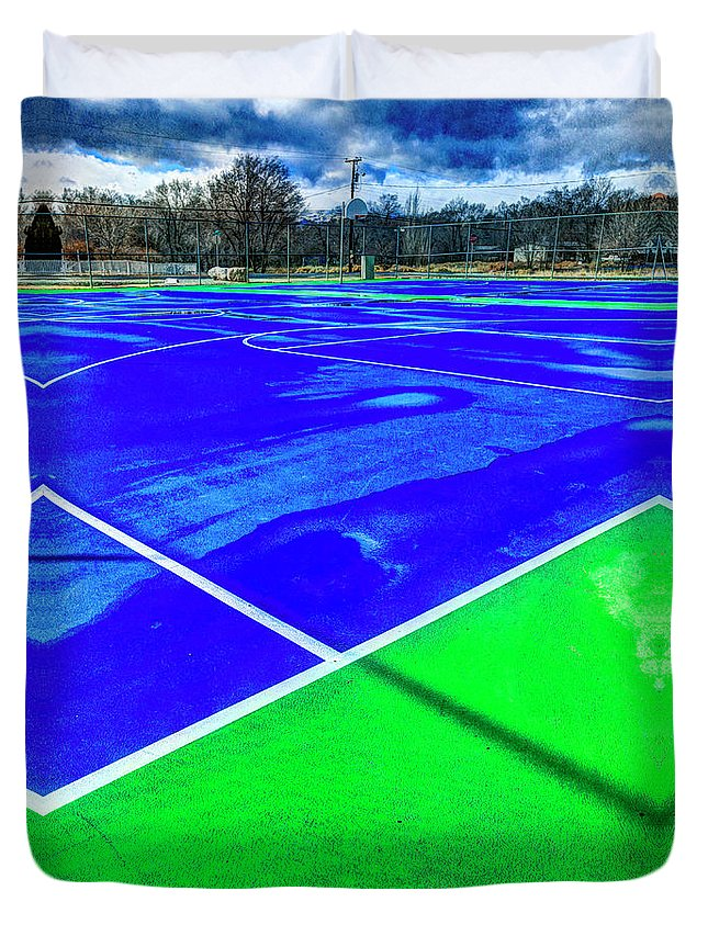 Asphalt Duvet Cover featuring the photograph Outdoor Basketball Court 1 In Blue And Green by YoPedro