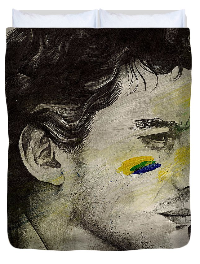 Ayrton Duvet Cover featuring the drawing Rei Do Brasil - Tribute To Ayrton Senna Da Silva by Marco Paludet