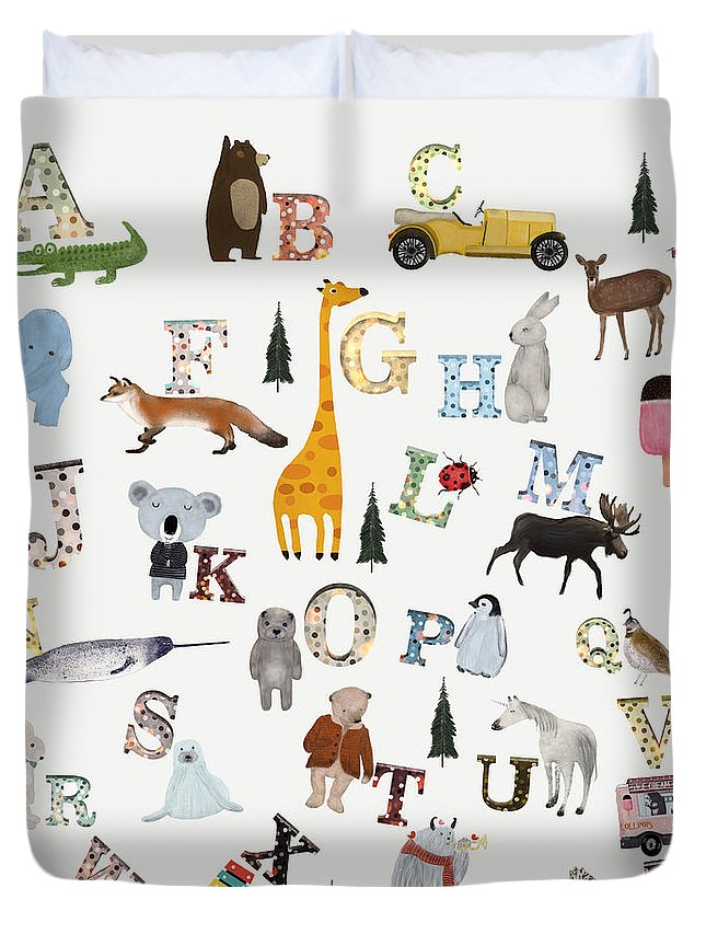 Animals Duvet Cover featuring the painting Little Nature Alphabet by Bri Buckley