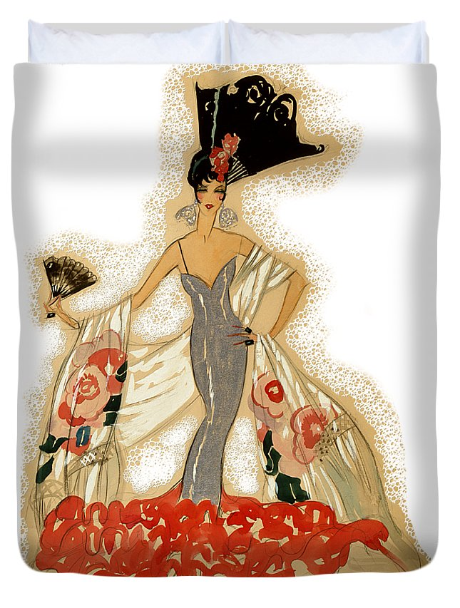 Robert Kernodle Vintage Women Fashions Duvet Cover featuring the digital art Elegant Woman by Robert G Kernodle