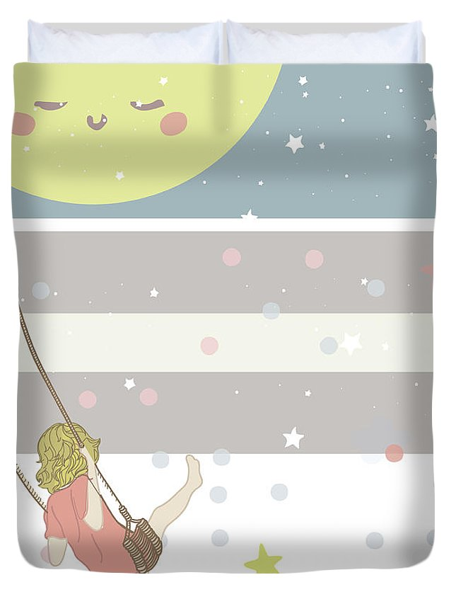 Duvet Cover featuring the digital art Me And Mr. Moon by Claire Tingen