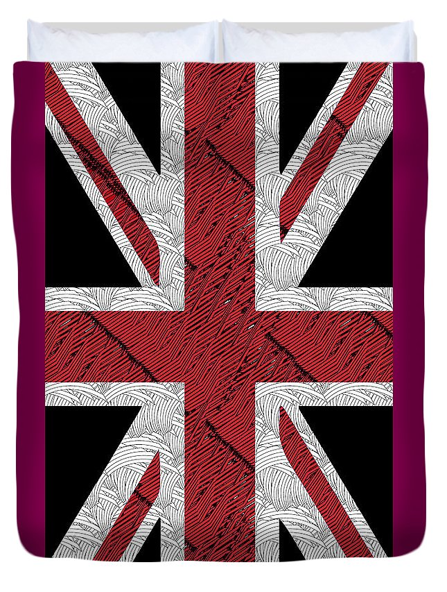 Union Flag Duvet Cover featuring the painting Union Jack Flag Deco Swing by Cecely Bloom