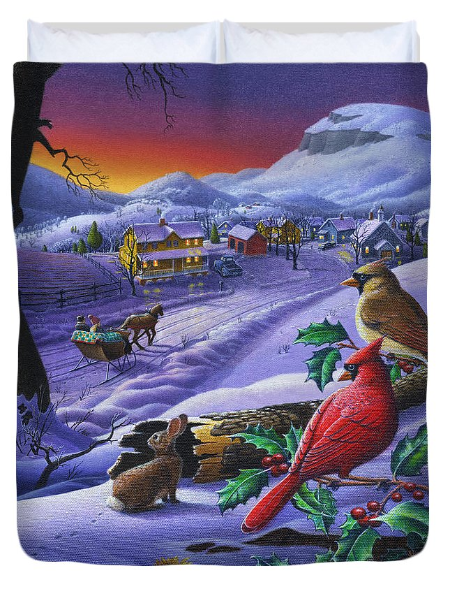 Christmas Duvet Cover featuring the painting Christmas Sleigh Ride Winter Landscape Oil Painting - Cardinals Country Farm - Small Town Folk Art by Walt Curlee