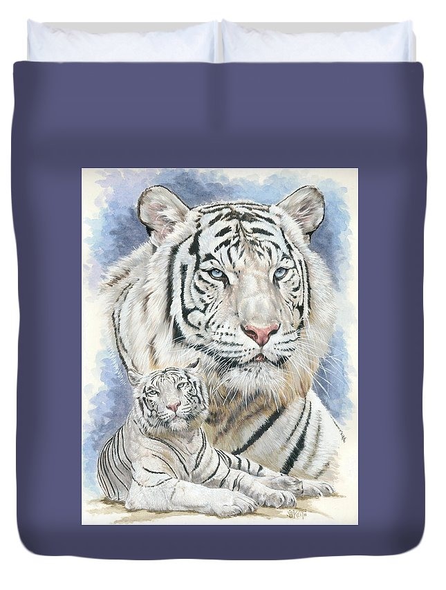Big Cat Duvet Cover featuring the mixed media Dignity by Barbara Keith