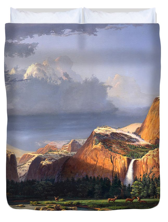 American Duvet Cover featuring the painting Deer Meadow Mountains Western Stream Deer Waterfall Landscape Oil Painting Stormy Sky Snow Scene by Walt Curlee
