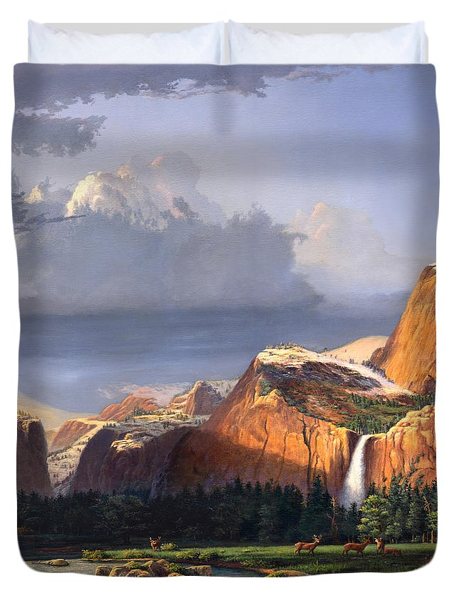 American Duvet Cover featuring the painting Deer Meadow Mountains Western stream Deer waterfall Landscape Oil Painting stormy sky snow scene by Walt Curlee