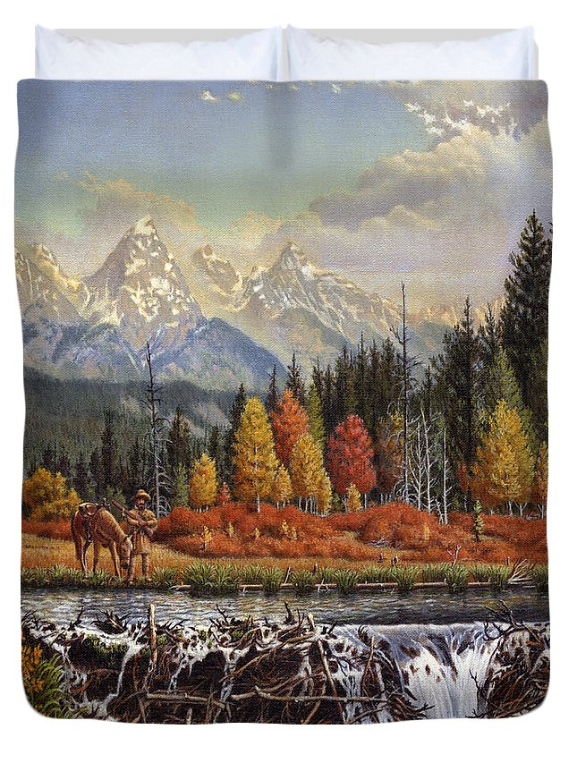 Western Mountain Landscape Duvet Cover featuring the painting Western Mountain Landscape Autumn Mountain Man Trapper Beaver Dam Frontier Americana Oil Painting by Walt Curlee