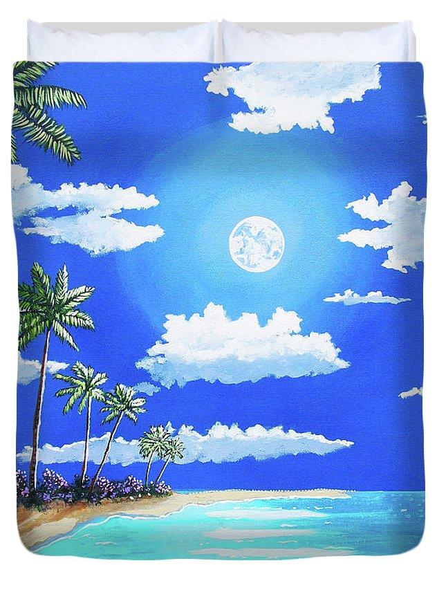 John Moon Duvet Cover featuring the painting Florida Keys Moon Rise by John Moon