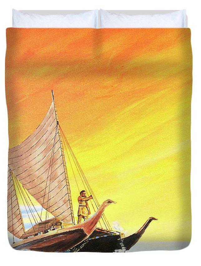 John Moon Paintings Duvet Cover featuring the painting Vaka Taurua by John Moon