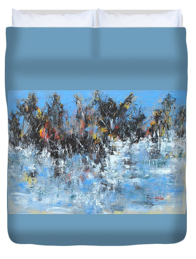Paesaggio Sul Lago Con Neve Duvet Cover featuring the painting Neve In Riva A Lago by Massimo Onnis