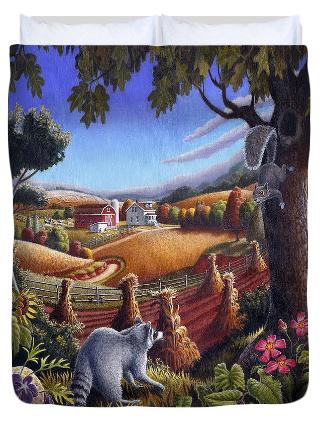 Rural Duvet Cover featuring the painting Rural Country Farm Life Landscape Folk Art Raccoon Squirrel Rustic Americana Scene by Walt Curlee