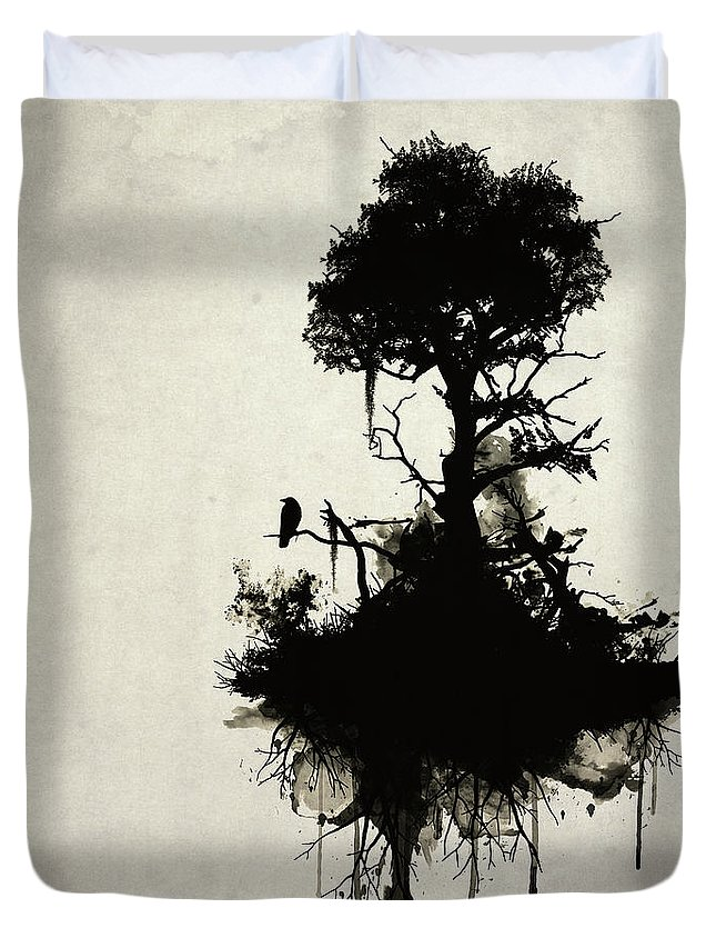 Nature Duvet Cover featuring the painting Last Tree Standing by Nicklas Gustafsson