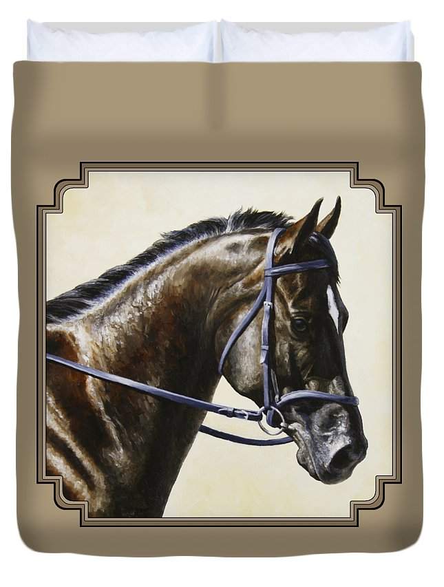 Horse Duvet Cover featuring the painting Dressage Horse - Concentration by Crista Forest