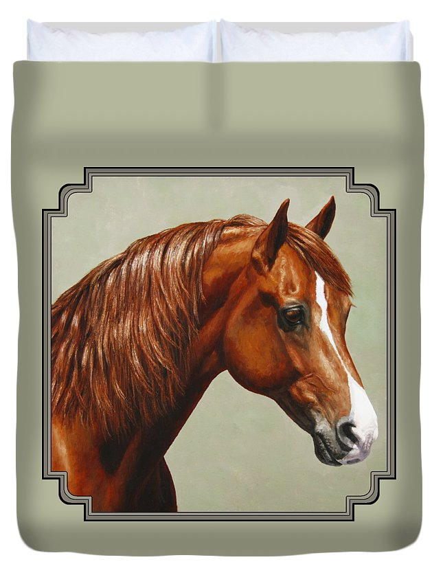 Horse Duvet Cover featuring the painting Morgan Horse - Flame by Crista Forest