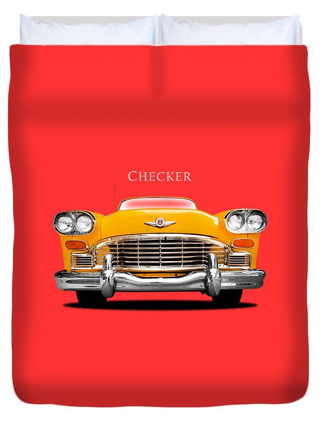 Checker Cab Duvet Cover featuring the photograph Checker Cab by Mark Rogan