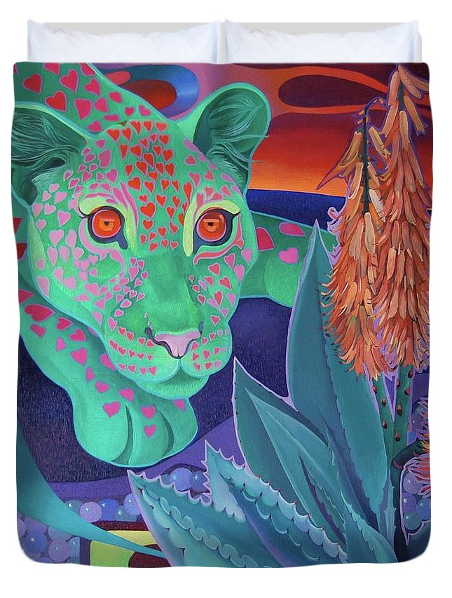 Magic Africa Duvet Cover featuring the painting Night Wispers by Tatyana Binovska