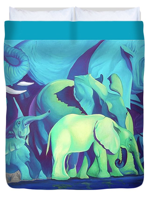 Magic Africa Duvet Cover featuring the painting Blue Elephants by Tatyana Binovska