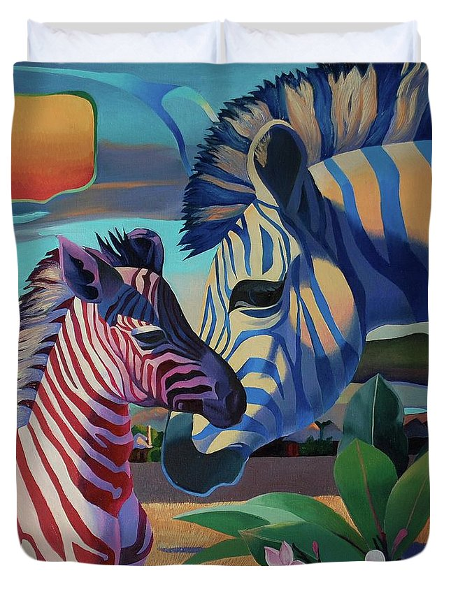 Magic Africa Duvet Cover featuring the painting Sunset In Ngoro Ngoro by Tatyana Binovska