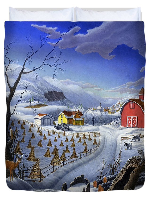 Folk Art Duvet Cover featuring the painting Folk Art Winter Landscape by Walt Curlee