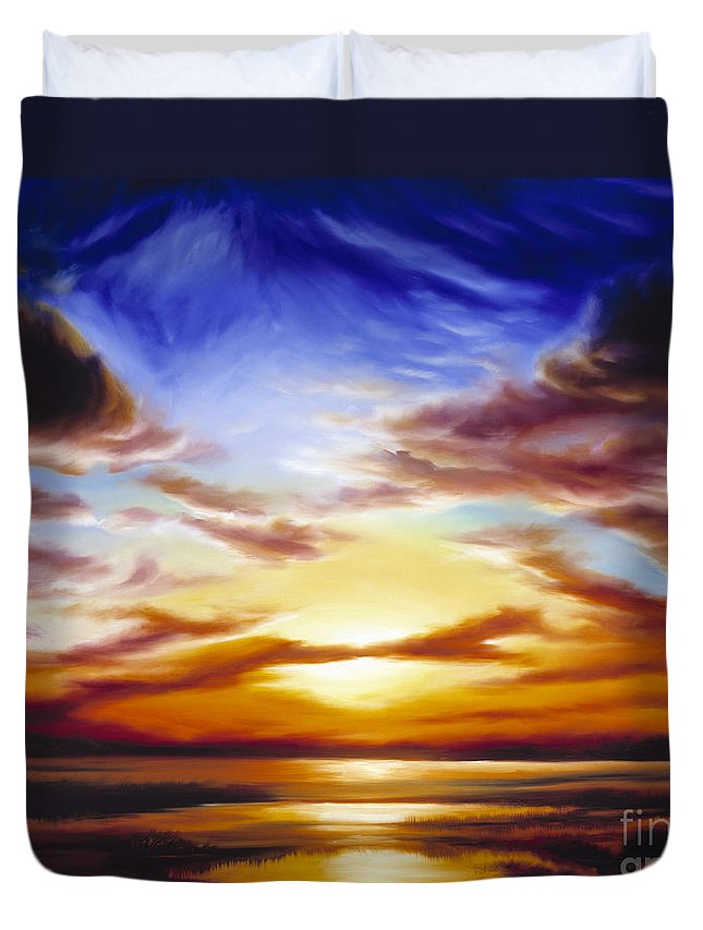 Skyscape Duvet Cover featuring the painting As The Sun Sets by James Christopher Hill