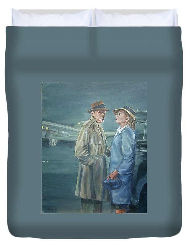 Casablanca Duvet Cover featuring the painting As Time Goes By by Bryan Bustard