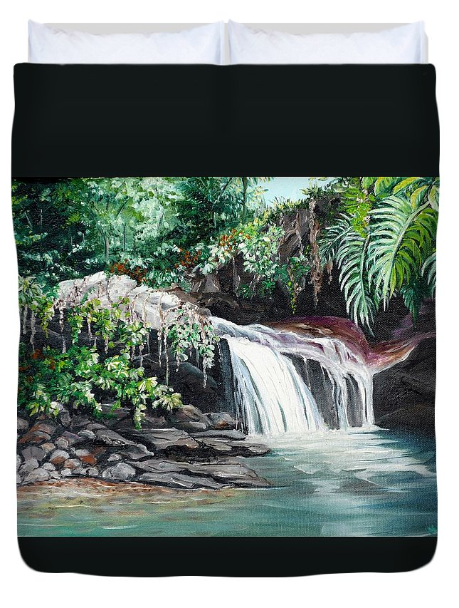 Waterfall Painting Duvet Cover featuring the painting Asa Wright Falls   Sold by Karin Dawn Kelshall- Best