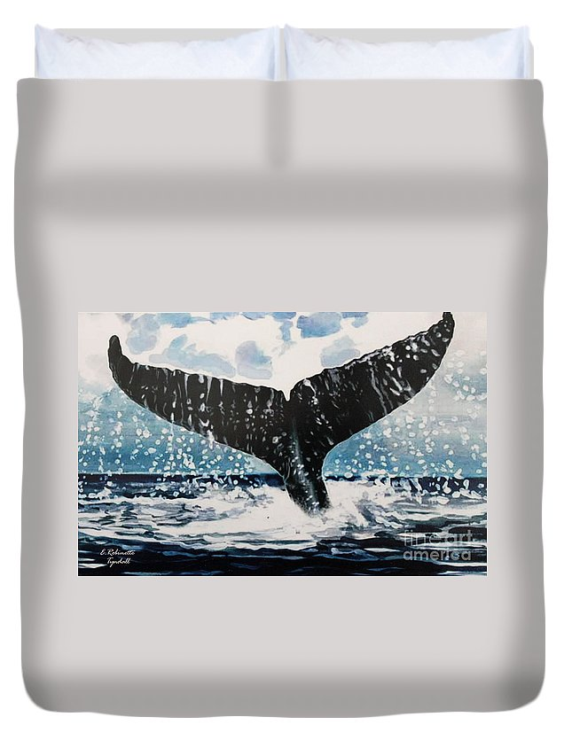 Ocean Duvet Cover featuring the painting Ascend by Elizabeth Robinette Tyndall
