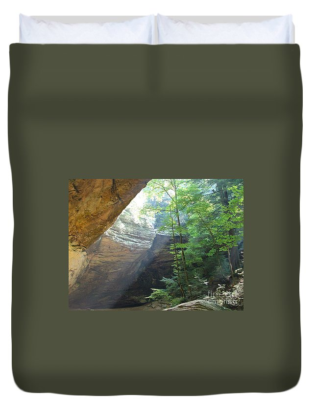 Photograph Duvet Cover featuring the photograph Ash Cave by Mindy Newman