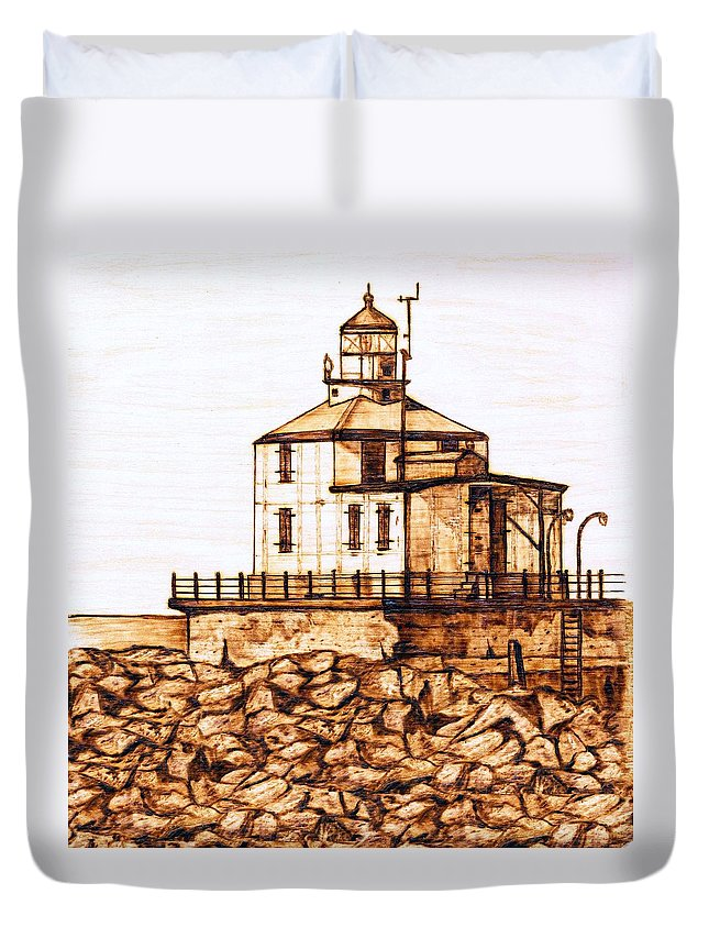 Lighthouse Duvet Cover featuring the pyrography Ashtabula Harbor by Danette Smith