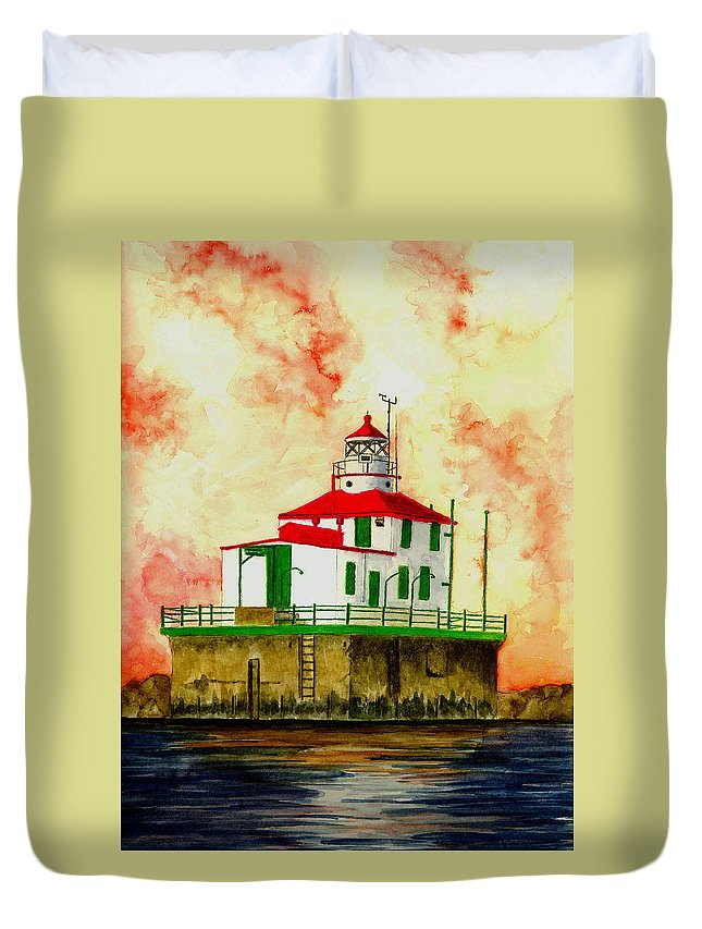 Lighthouse Duvet Cover featuring the painting Ashtabula Lighthouse by Michael Vigliotti