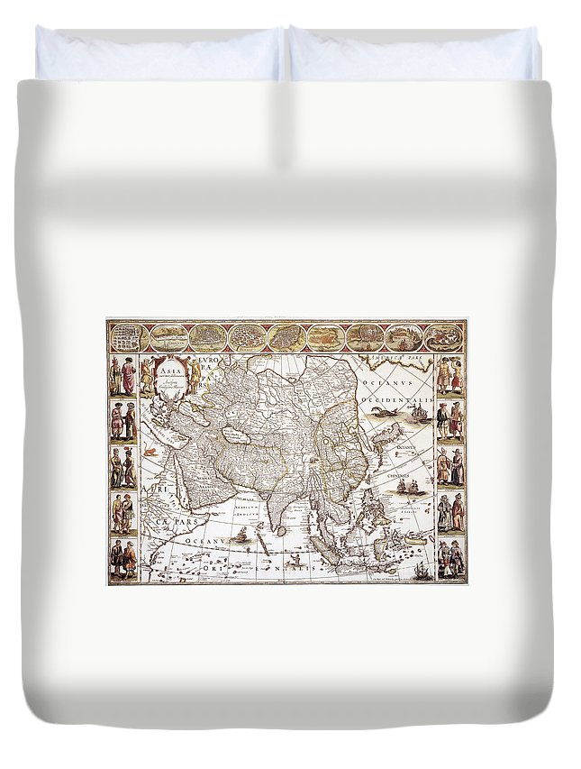 1618 Duvet Cover featuring the photograph Asia: Map, C1618 by Granger