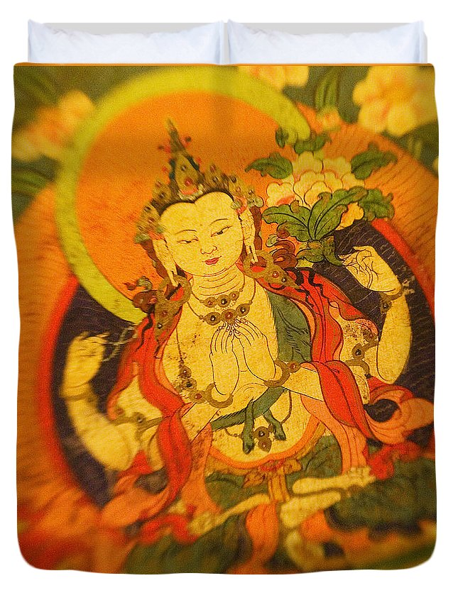 Adorn Duvet Cover featuring the photograph Asian Art Textile by Ron Dahlquist - Printscapes