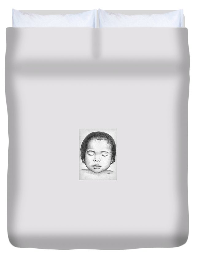 Baby Duvet Cover featuring the drawing Asian Baby by Nicole Zeug