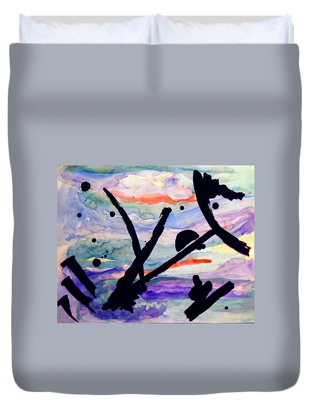 Abstract Duvet Cover featuring the painting Asian Impression by Steve Karol