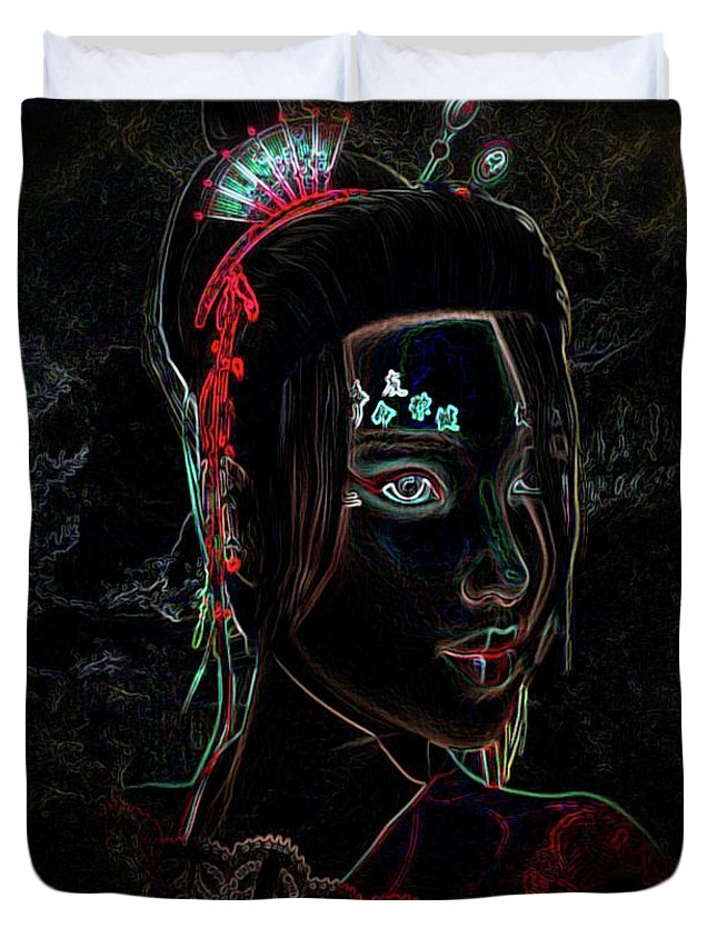 Neon Duvet Cover featuring the photograph Asian Lady by G Berry