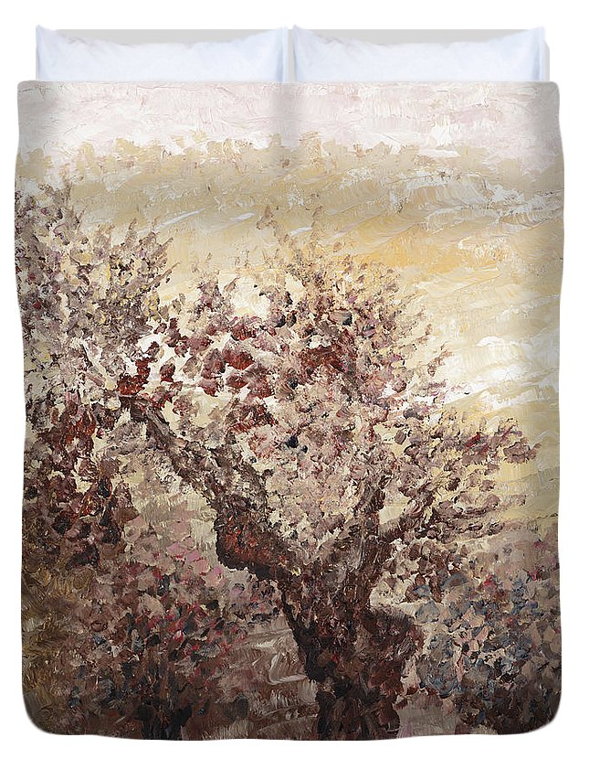 Landscape Duvet Cover featuring the painting Asian Mist by Nadine Rippelmeyer